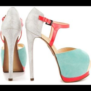 Boutique 9 teal/silver/hot pink high heels